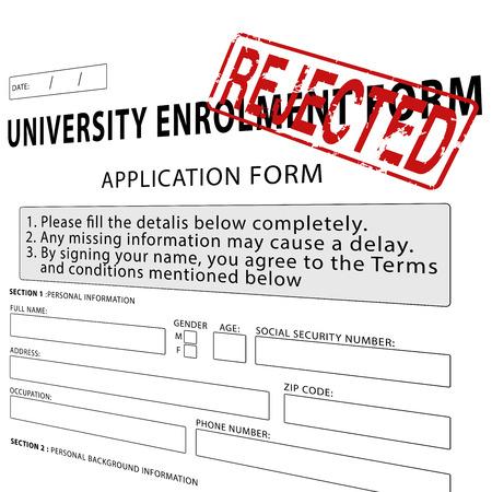 enrollment: University enrollment form with red rejected rubber stamp