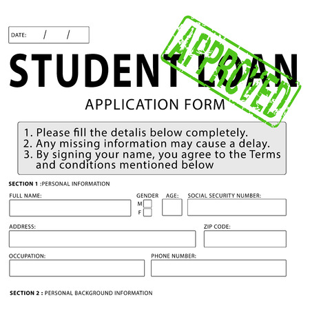 Student Loan Application Form With Green Approved Rubber Stamp Photo