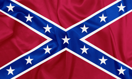 civil war: American Civil war - The Second Confederate Navy Jack, 1863-1865 waving flag with silk texture