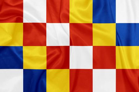 antwerp: Antwerp - Waving national flag on silk texture