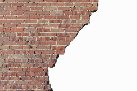 Old broken red brick wall