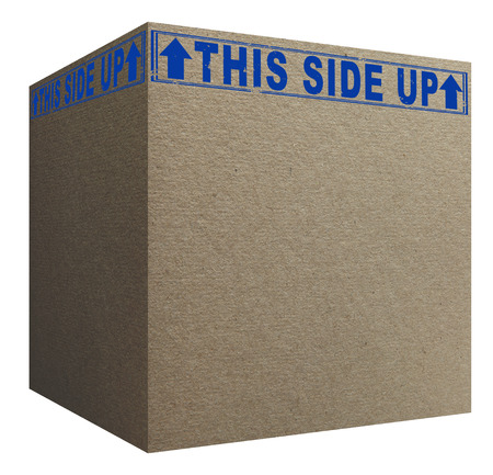 3D Cardboard box with blue this side up signs photo