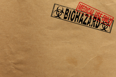 bio hazard: Paper texture with Bio Hazard and medical use only rubber stamps