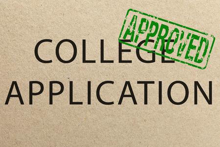 Approved college application form Standard-Bild