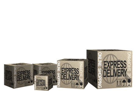 3D Cardboard boxes with Express delivery Online shopping theme photo