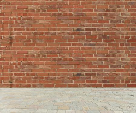 ladrillo: Pared de ladrillo roja vieja con suelo de mármol de piedra