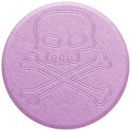 ecstasy: Pink �xtasis p�ldora aislado en blanco