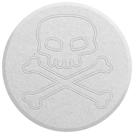 éxtasis: Blanca éxtasis píldora aislado en blanco