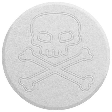 mdma: White Ecstasy pill isolated on white