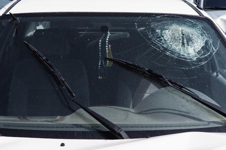 Car crash - Smashed Windshield Archivio Fotografico
