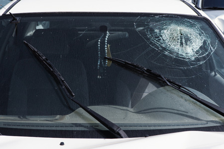 Car crash - Smashed Windshield Banco de Imagens