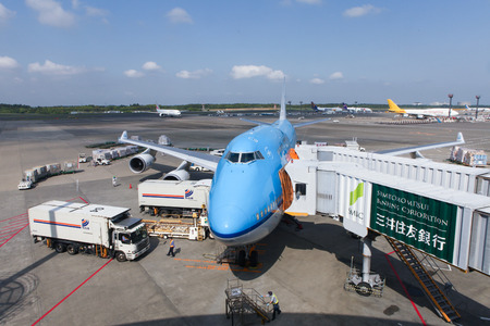 747 400: KLM Boeing 747400 parked at Narita international airport Japans main international airport.