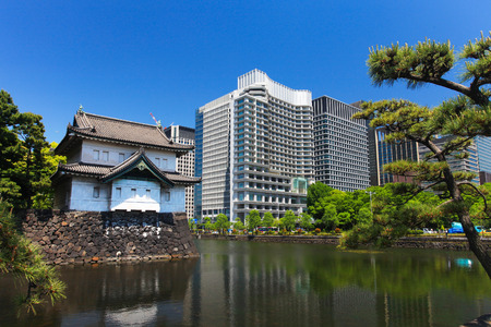 moat wall: Imperial palace and Tokyo skyline