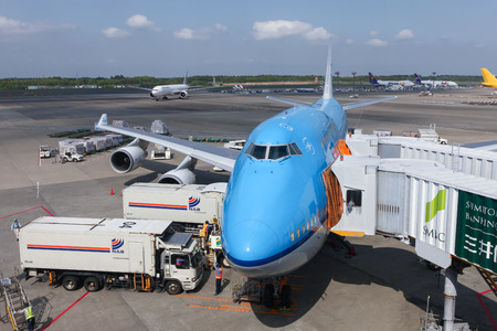 747 400: KLM Boeing 747400 parked at Narita international airport Japans main international airport.