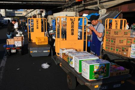 operational: Workers at Famous Tsukiji fish market operational area