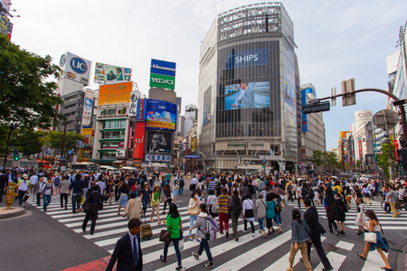 scramble: Pedestrians at Shibuya crossing The famous scramble crosswalk also known as Shibuya scramble is used by over 2.5 million people on daily basis