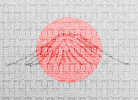 torii: Paper texture with Japanese Torii gates, Mount fuji and flag Stock Photo