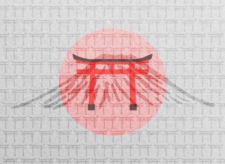 mount fuji: Paper texture with Japanese Torii gates, Mount fuji and flag Stock Photo