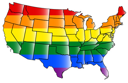 United states map with States covered with LGBT flag colors Imagens - 41857422