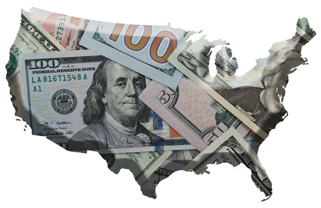 united states: Dollars over U.S contour map