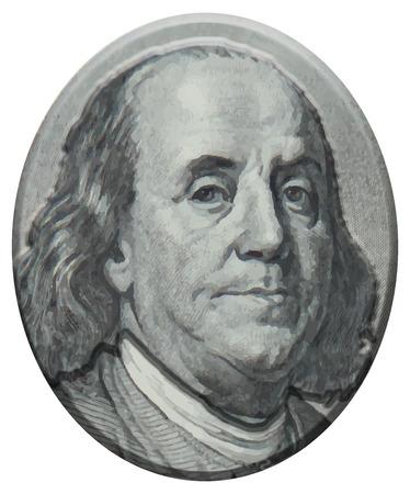 Ritratto Benjamin Franklin 3D Archivio Fotografico - 41980229