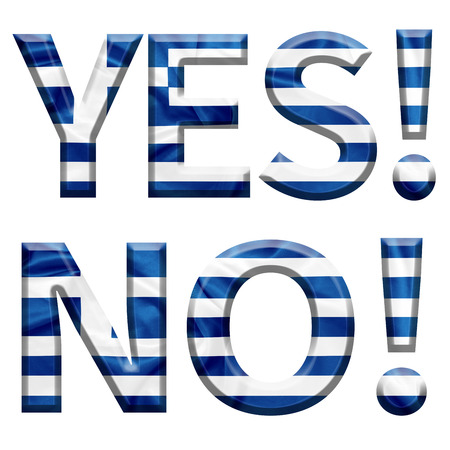 yes or no to euro: Yes and No written in Greek with Greek flag covered letters for the Greek referendum