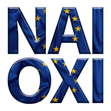 Yes and No written with E.U flag covered letters for the Greek referendum