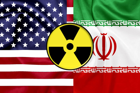iran: Flags of United States and Iran with Nuclear icon