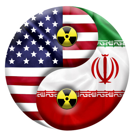 nuclear icon: Flags of United States and Iran with Nuclear icon