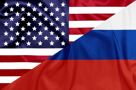 cold war: United states and Russian federation flags Stock Photo