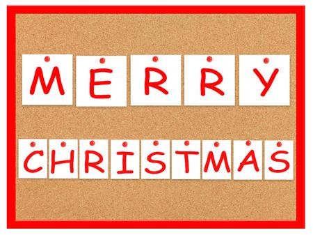 merry christmas text: Tarjeta del corcho con las notas y el texto Feliz Navidad