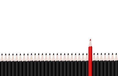 lapiz: Fila de l�pices de color negro con l�piz rojo que se coloca hacia fuera.