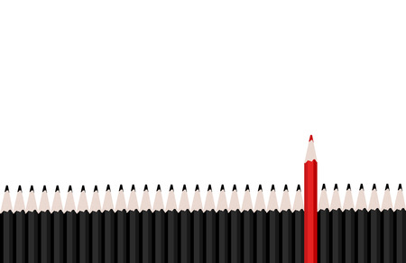 white red: Row of black pencils with red pencil standing out.