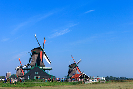 schans: Classic Dutch windmill at Zaanse Schans