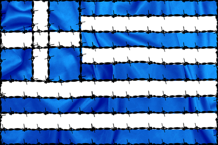 criss: Greek national flag with Barbed wire