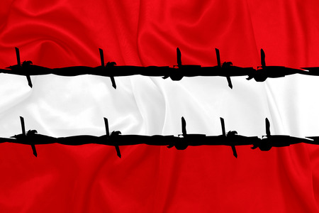 war crimes: Austria - national flag with barbed wire
