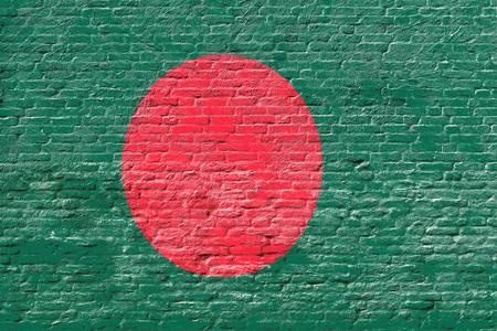 national flag bangladesh: Bangladesh - National flag on Brick wall Stock Photo