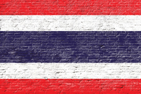 thai flag: Thailand - National flag on Brick wall Stock Photo
