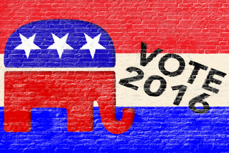 republican elephant: 2016 Republican party elections banner on brick wall