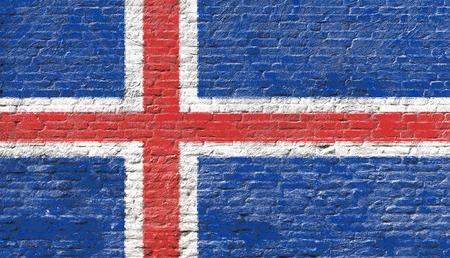 the icelandic flag: Iceland - National flag on Brick wall