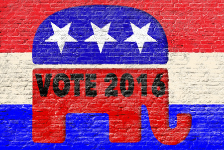 republican: 2016 Republican party elections banner on brick wall