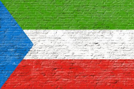 equatorial guinea: Equatorial Guinea - National flag on Brick wall
