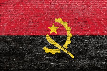 Angola - National flag on Brick wall