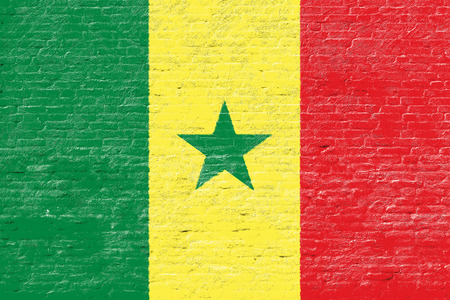 senegal: Senegal - National flag on Brick wall