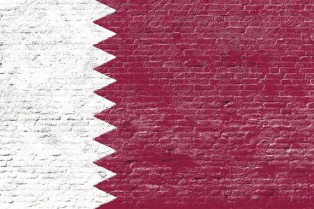 qatar: Qatar - National flag on Brick wall Stock Photo