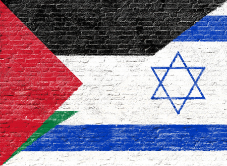 middle east conflict: Israel and Palestine - National flag on Brick wall Stock Photo