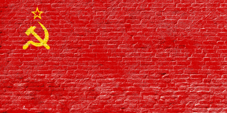 USSR Soviet Union - National flag on Brick wall Stock Photo