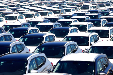 Rows of brand new cars Stock Photo