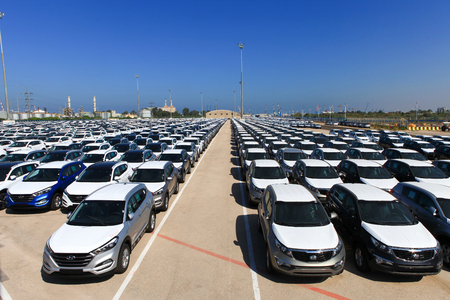 a lot  of: Rows of brand new cars Editorial