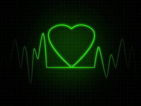 heart monitor: Heart monitor screen with green heart shape